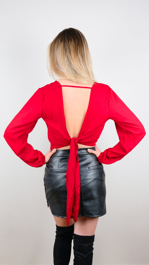 front tie crop top red