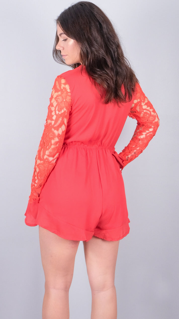Fantasy Skies Playsuit Red