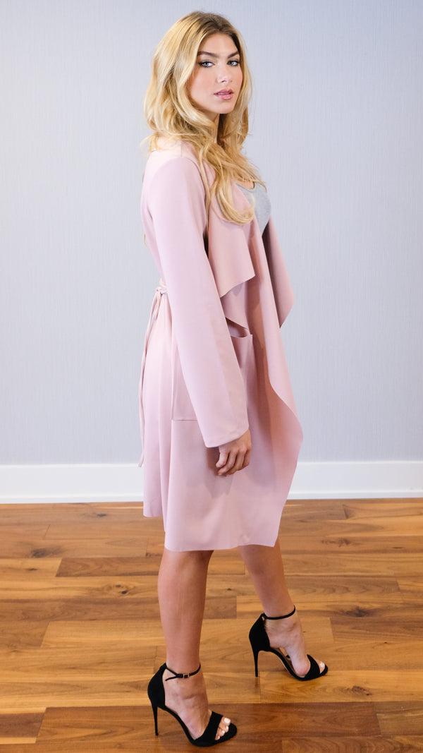 Over It Cardigan in Mauve Pink