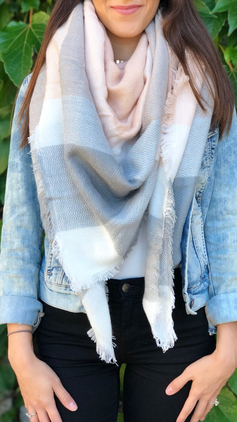 Chloe Scarf in Pink Plaid - FINAL SALE
