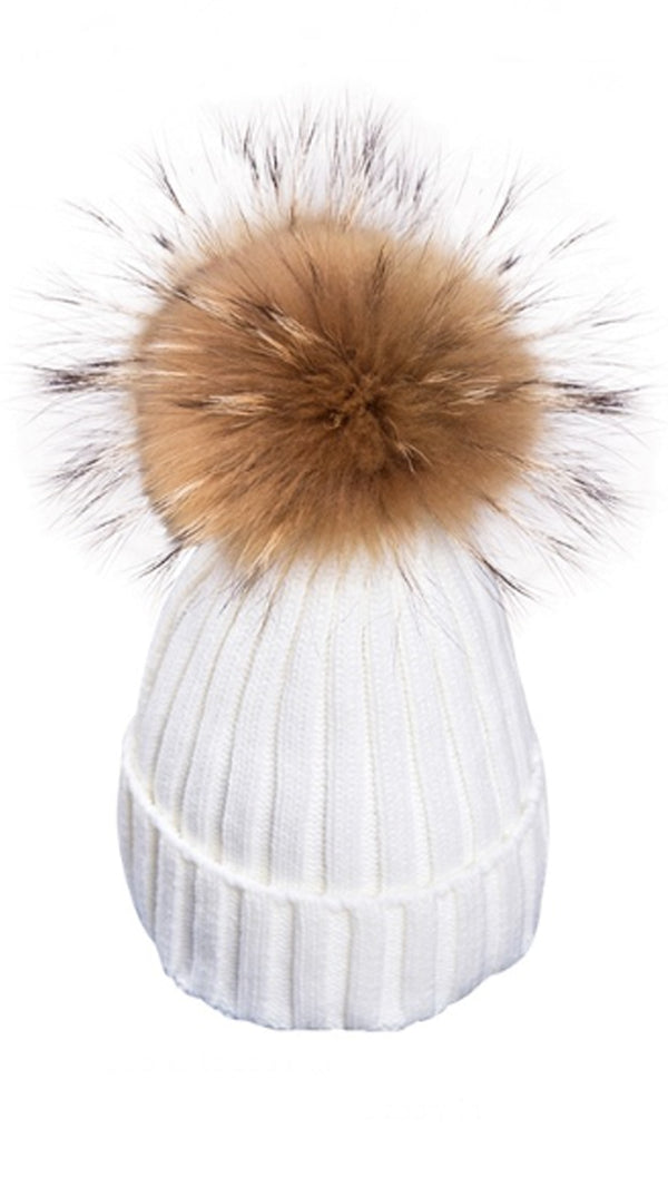 Pomski Knit Hat in White - FINAL SALE