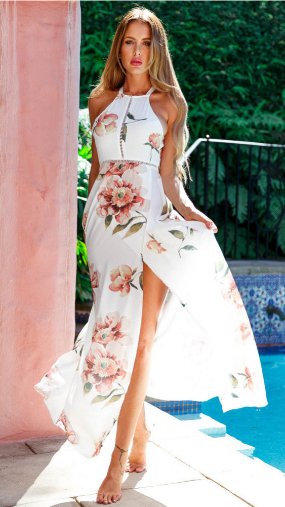 Midnight Kiss Dress in White Floral