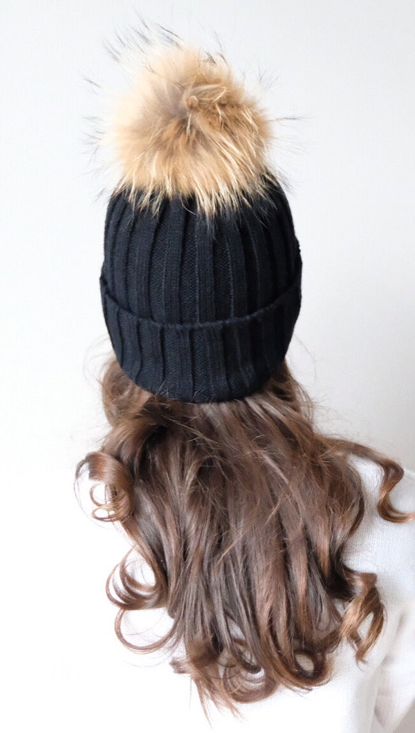Pomski Knit Hat in Black - FINAL SALE