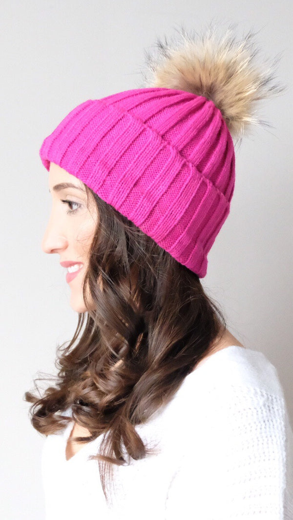 Pomski Knit Hat in Hot Pink - FINAL SALE