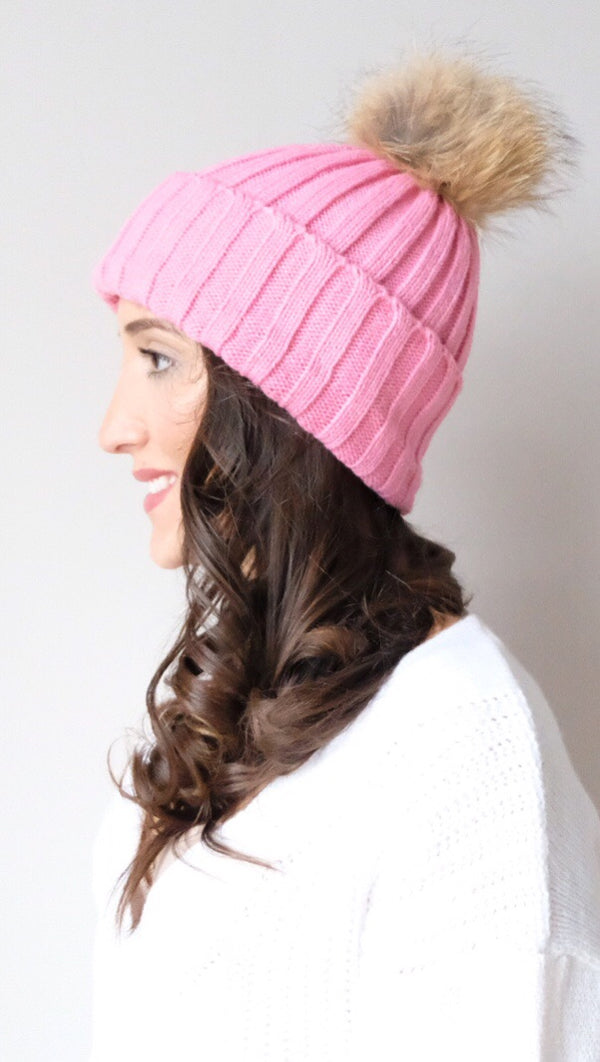 Pomski Knit Hat in Bubblegum Pink - FINAL SALE