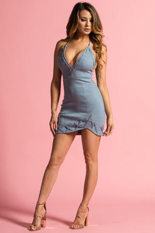 Aaliyah Dress-Light Denim