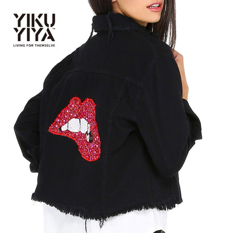 Red Lips Sequins Denim Coat