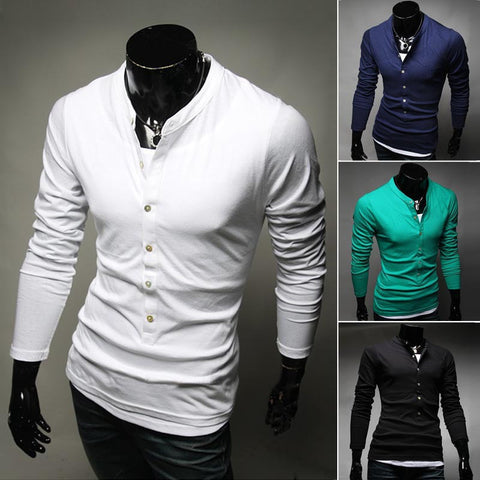 Men's Fashion T-Shirt Single-Breasted Cotton T-Shirt