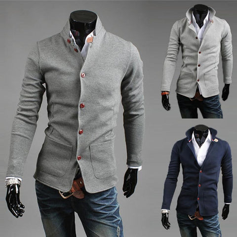 High Quality Fashion Solid Men Suit  Stand Collar Blazer