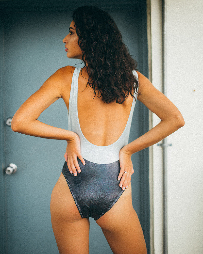Holographic Cutout Bodysuit