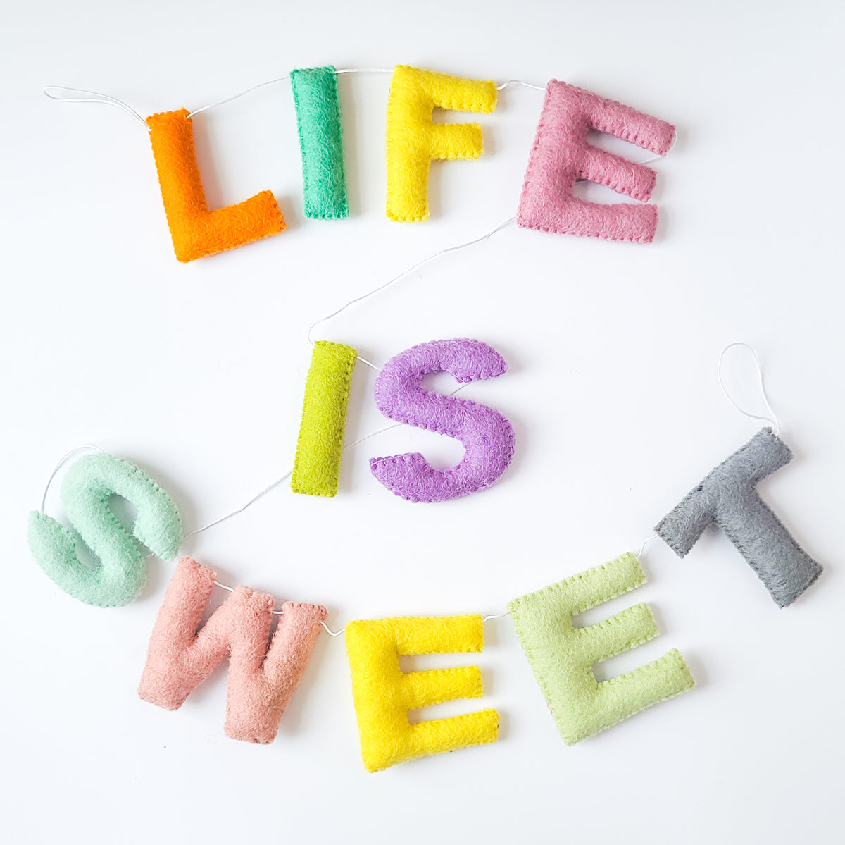 Life is Sweet Woolie Letter Garland