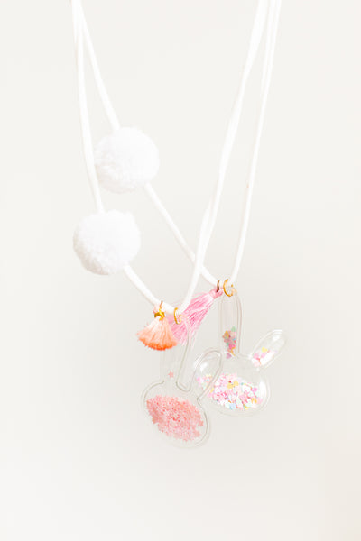 Bunny Charm Woolie Necklace - Pink / Multi Colored