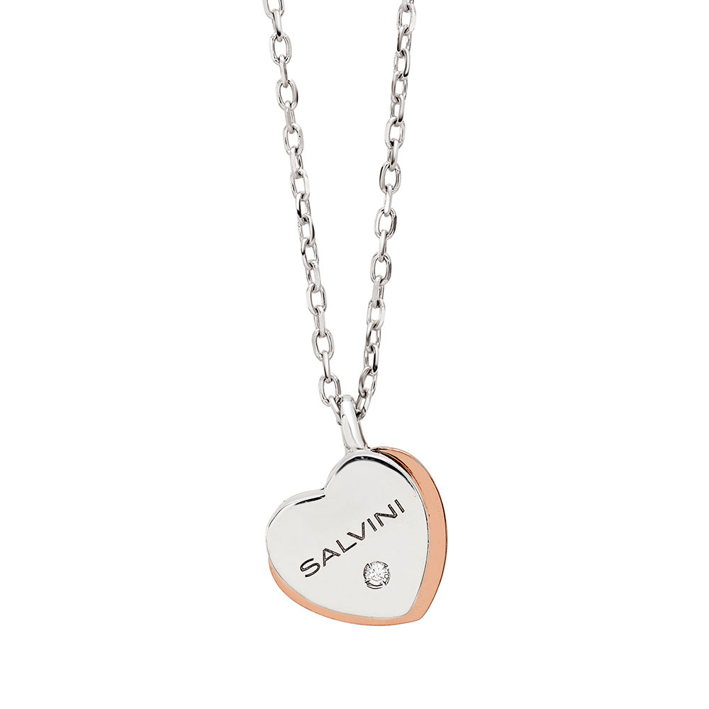 Salvini BE HAPPY White and Rose Gold Necklace with Diamond