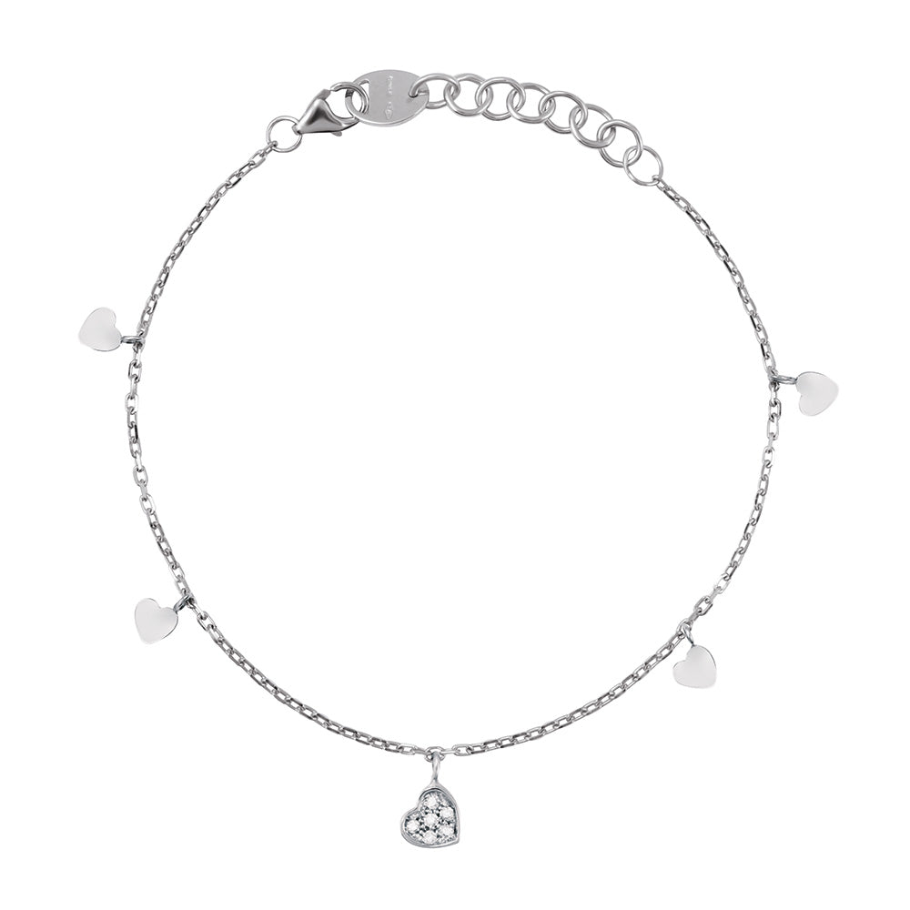 Salvini BE HAPPY White Gold Heart Bracelet with Diamond