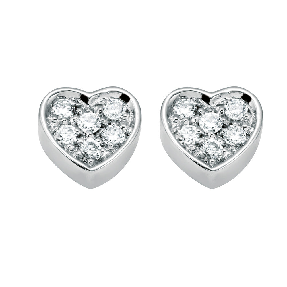 BE HAPPY White Gold Heart Earrings with Diamonds