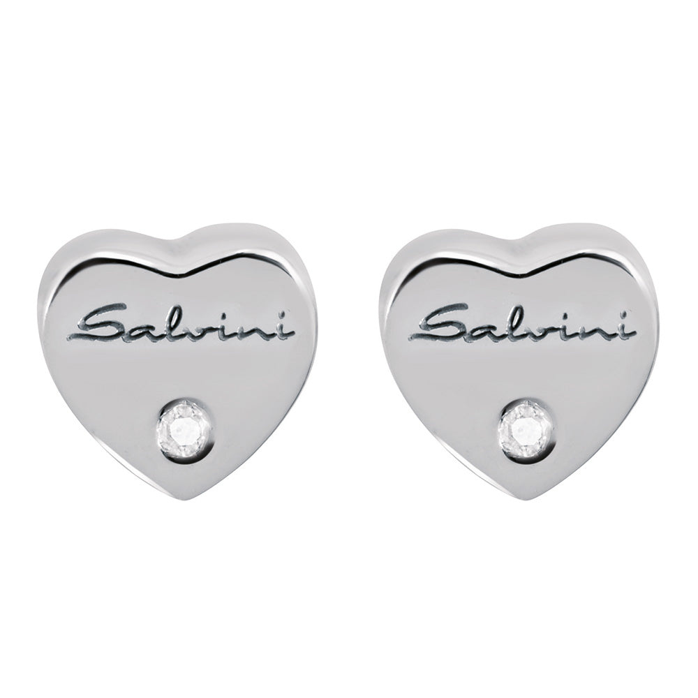Salvini BE HAPPY White Gold Heart Earrings with Diamonds