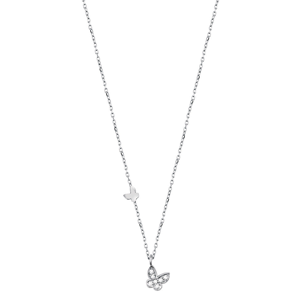Salvini BE HAPPY White Gold Butterfly Necklace with Diamonds