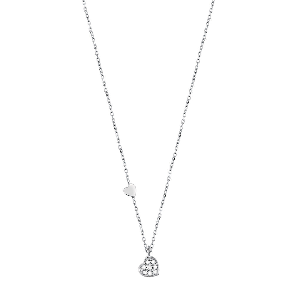 BE HAPPY White Gold Heart Necklace with Diamonds