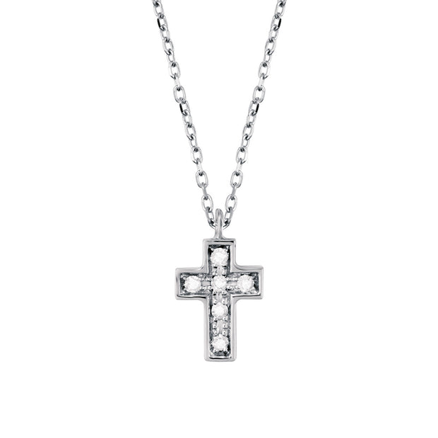 BE HAPPY White Gold Cross Necklace with Diamonds