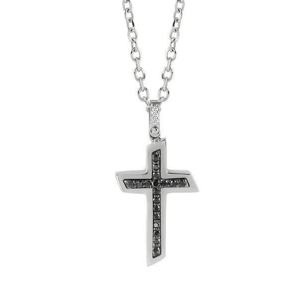 Salvini BLUES White Gold Cross Necklace with Black Diamonds