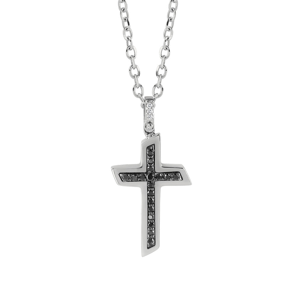 BLUES White Gold Cross Necklace with Black Diamonds