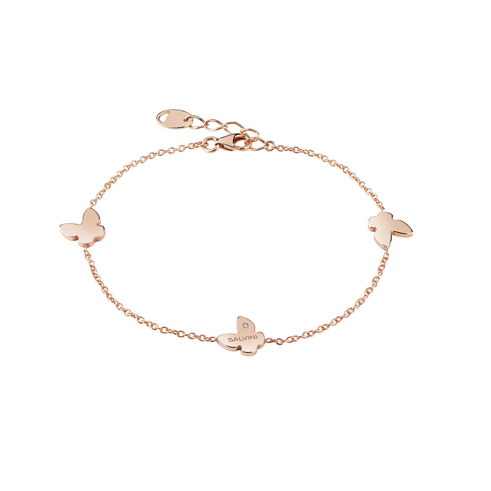 I SEGNI 9KT Rose Gold Butterfly Bracelet with Diamond