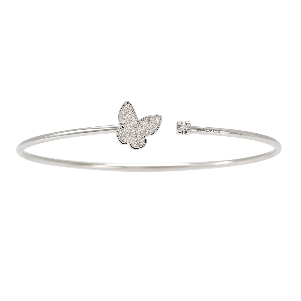 I SEGNI White Gold Butterfly Bangle with Diamond