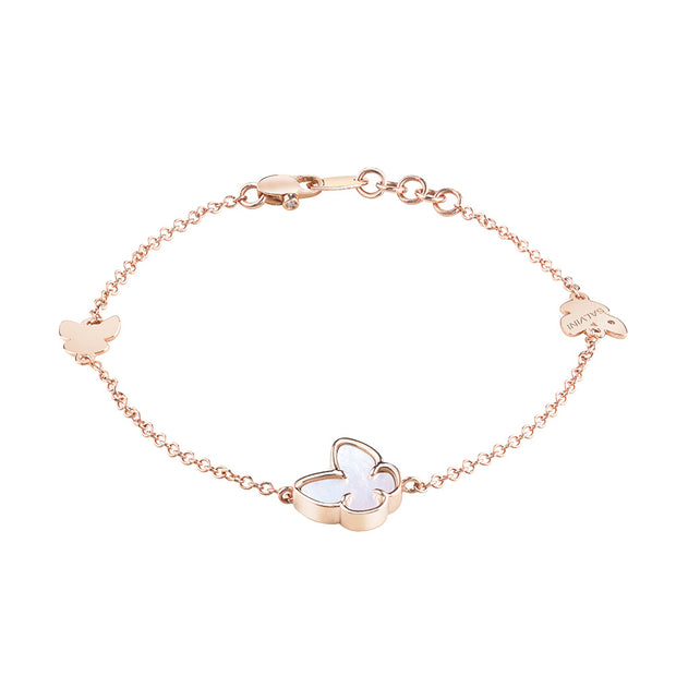 I SEGNI Rose Gold and Mother of Pearl Butterfly Bracelet with Diamond