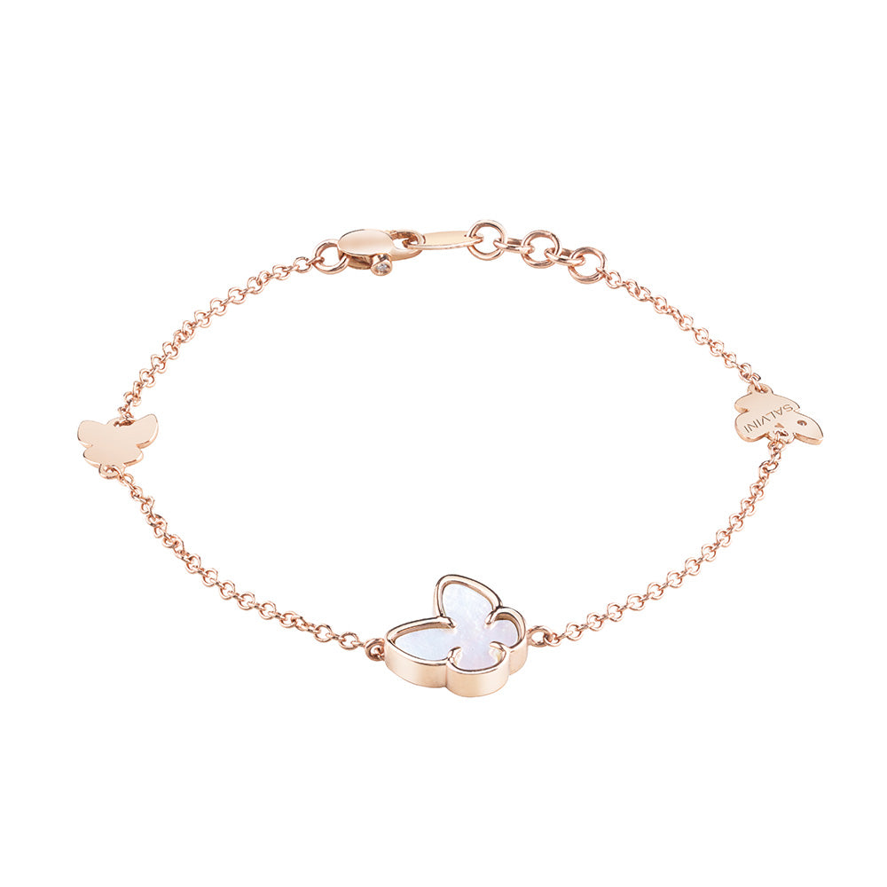 Salvini I SEGNI Rose Gold and Mother of Pearl Butterfly Bracelet with Diamond