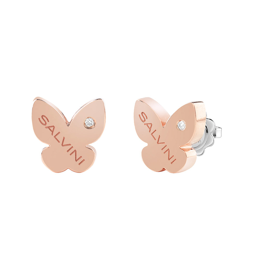 I SEGNI White and Rose Gold Butterfly Earrings with Diamonds