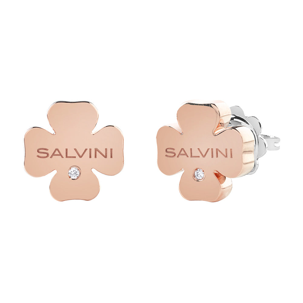 Salvini I SEGNI White and Rose Gold Clover Earrings with Diamonds