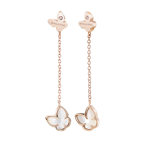 I SEGNI Rose Gold and Mother of Pearl Butterfly Earrings with Diamonds