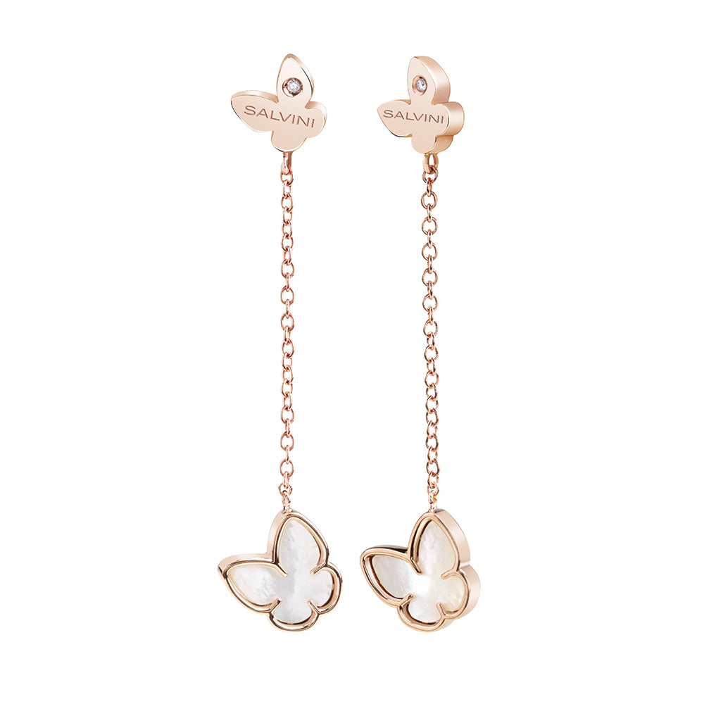 Salvini I SEGNI Rose Gold and Mother of Pearl Butterfly Earrings with Diamonds