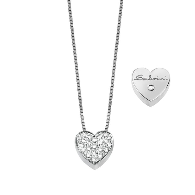 I SEGNI White Gold Heart Necklace with Pave Diamonds