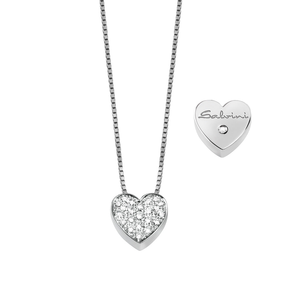 Salvini I SEGNI White Gold Heart Necklace with Pave Diamonds