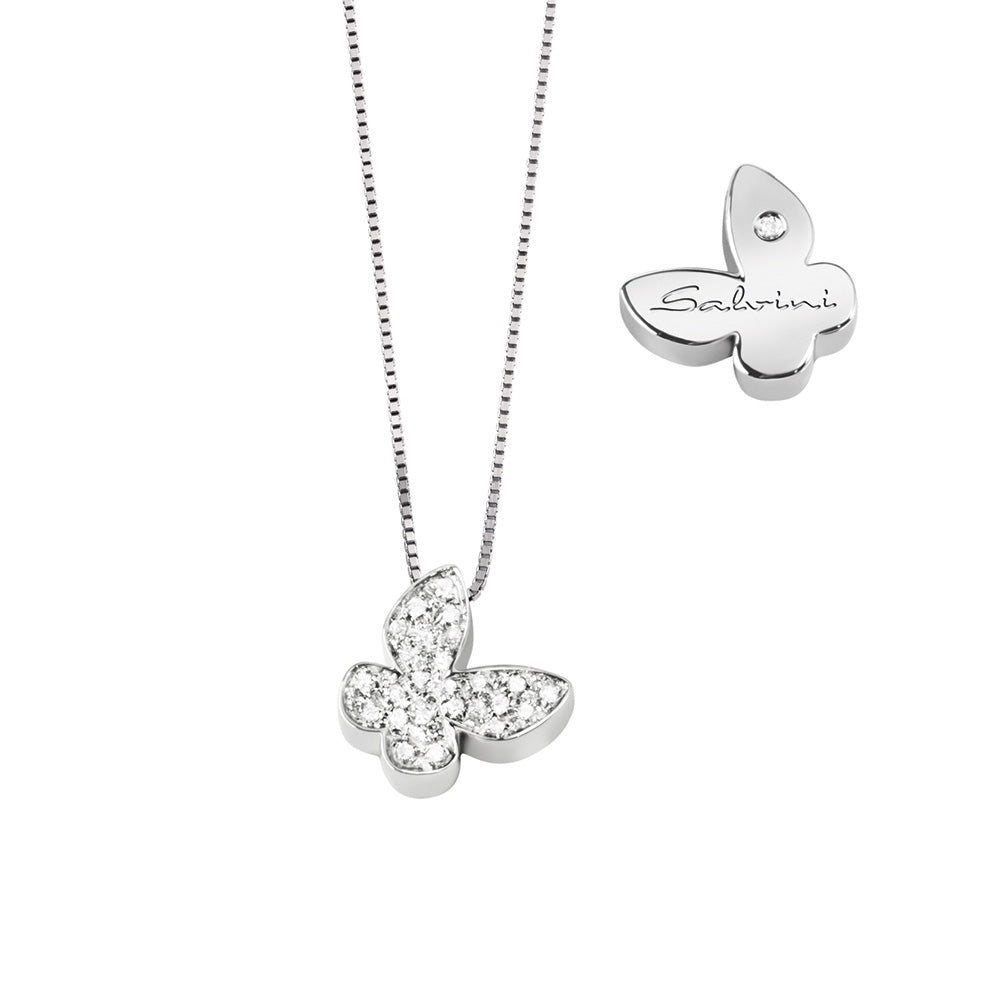 Salvini I SEGNI White Gold Butterfly Necklace with Pave Diamonds