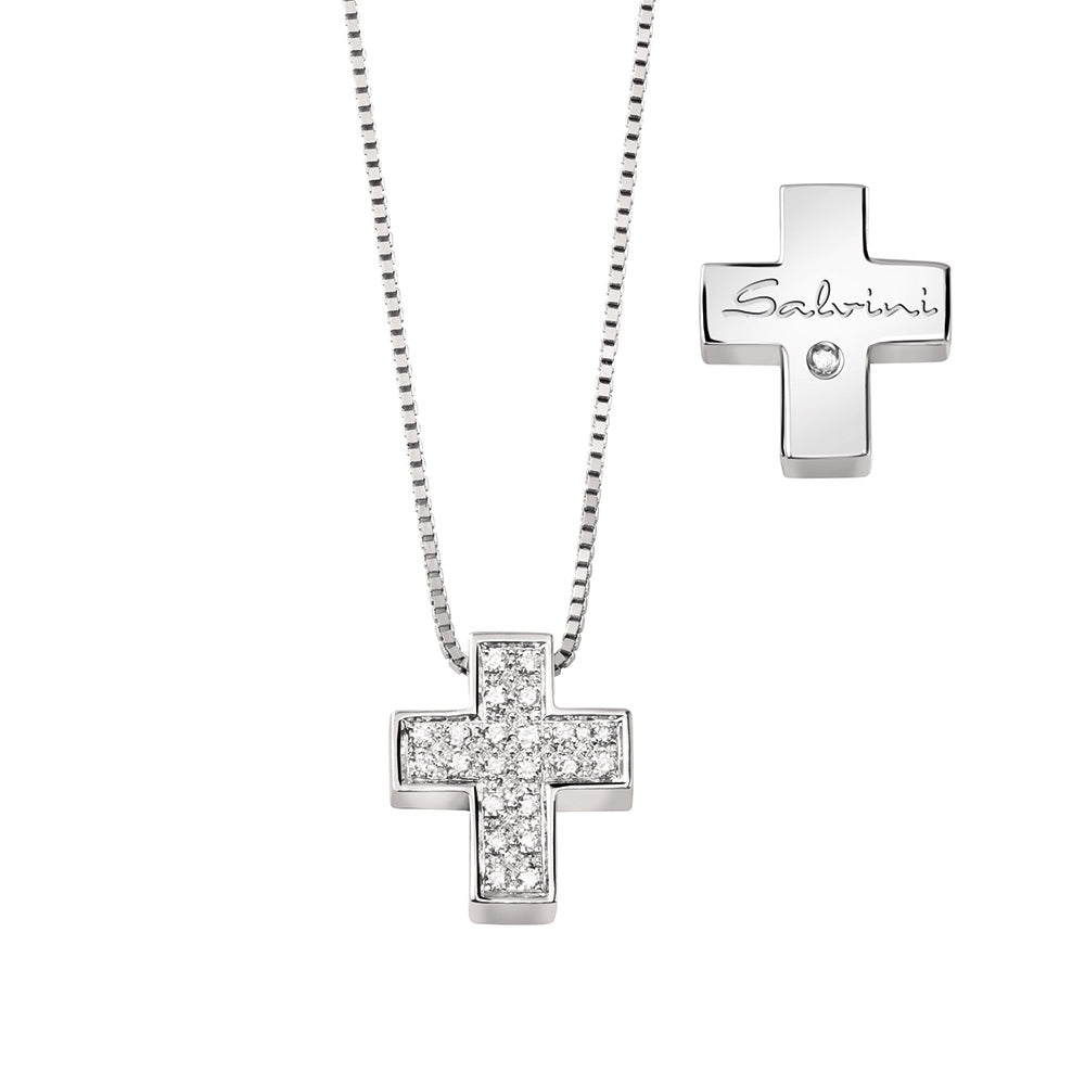 I SEGNI White Gold Cross Necklace with Pave Diamonds