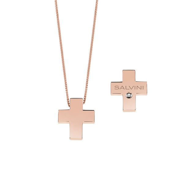 I SEGNI Rose Gold Cross Necklace with Diamond