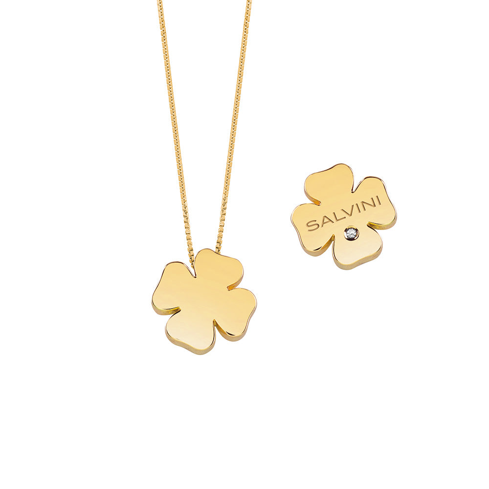 Salvini I SEGNI Yellow Gold Clover Necklace with Diamond