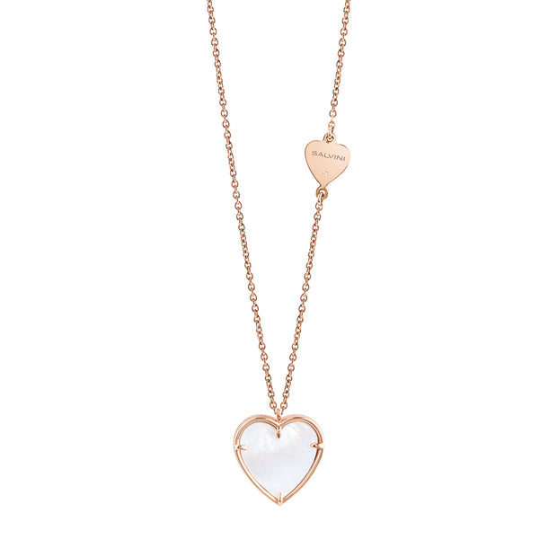 I SEGNI Rose Gold and Mother of Pearl Heart Necklace with Diamond