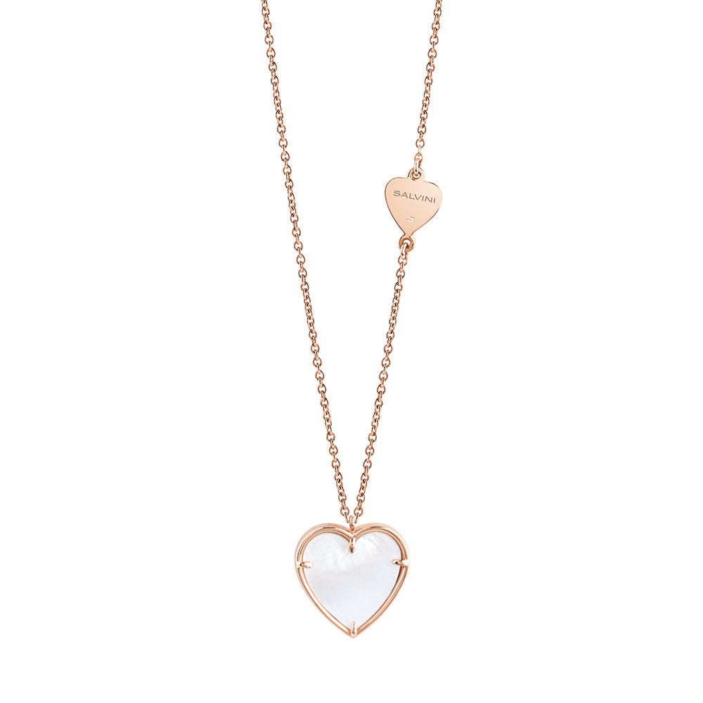 Salvini I SEGNI Rose Gold and Mother of Pearl Heart Necklace with Diamond