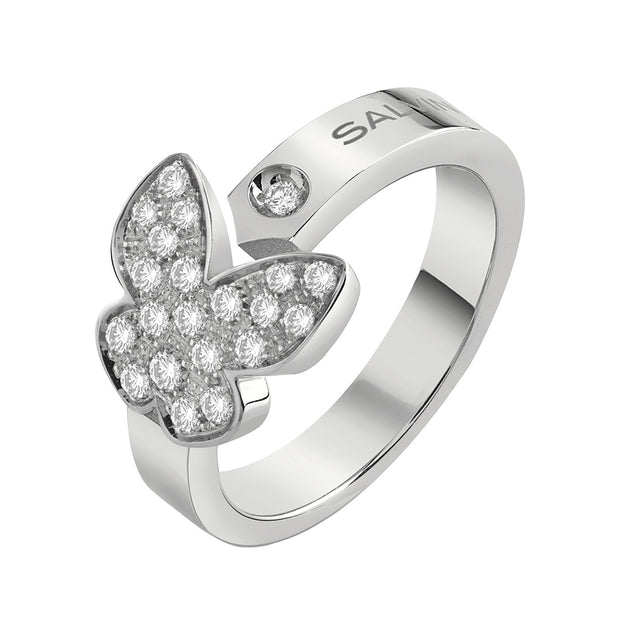 I SEGNI White Gold Butterfly Ring with Diamonds