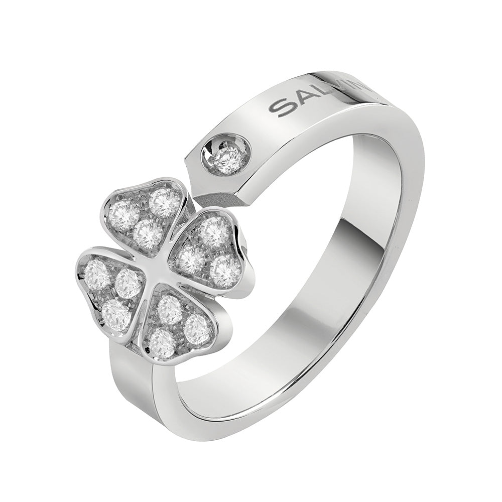 Salvini I SEGNI White Gold Clover Ring with Diamonds