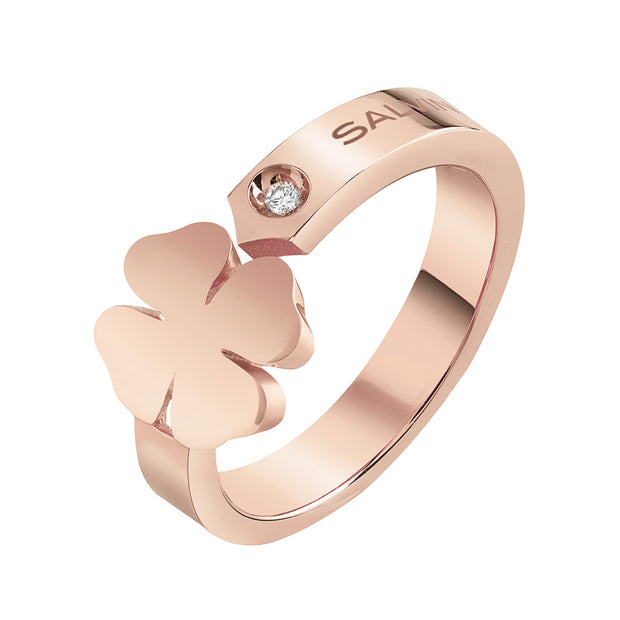 I SEGNI Rose Gold Clover Ring with Diamond