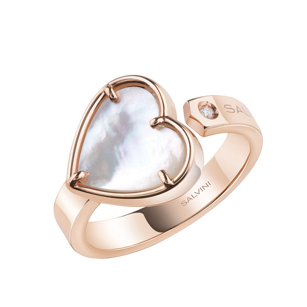 I SEGNI Rose Gold and Mother of Pearl Heart Ring with Diamond