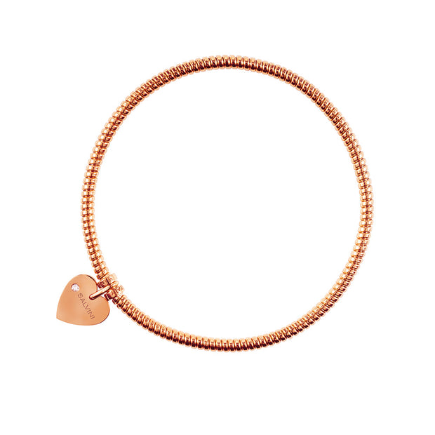MINIMAL POP Rose Gold Heart Bracelet with Diamond