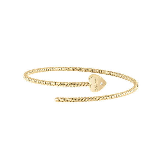 MINIMAL POP Yellow Gold Heart Bracelet with Diamond
