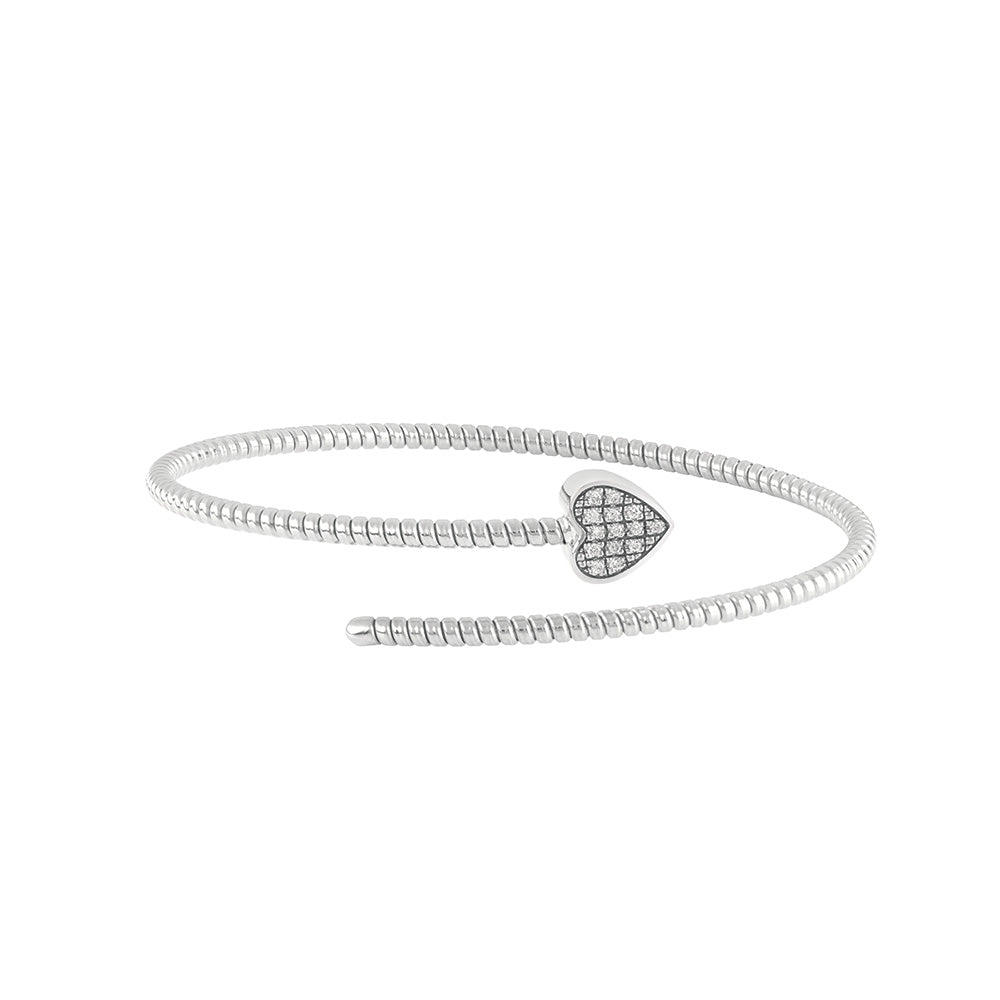 MINIMAL POP White Gold Heart Bracelet with Diamonds