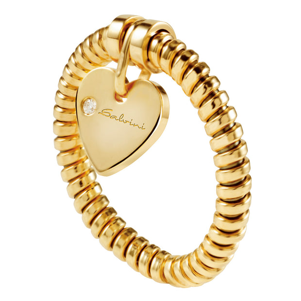 MINIMAL POP Yellow Gold Heart Ring with Diamond