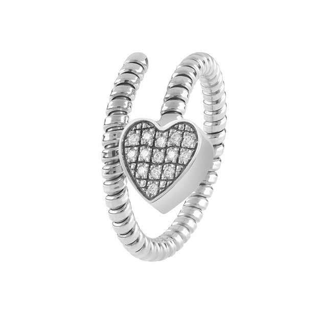 MINIMAL POP White Gold Heart Ring with Diamond